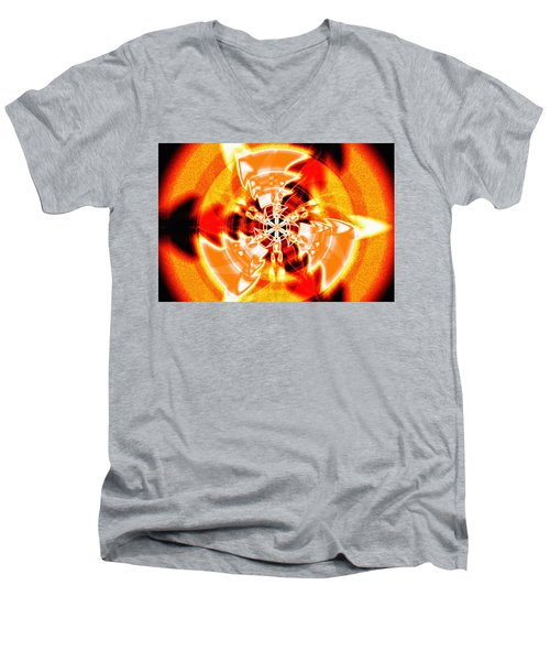 Men's V-Neck T-Shirt featuring the drawing Flower Vectors Of Life by Derek Gedney