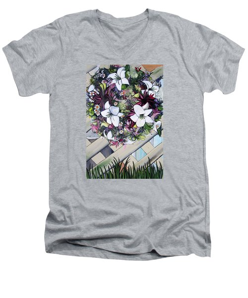 Floral Wreath Men's V-Neck T-Shirt by Mary Ellen Frazee