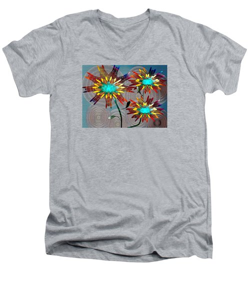 Men's V-Neck T-Shirt featuring the drawing Flowering Blooms by Iris Gelbart