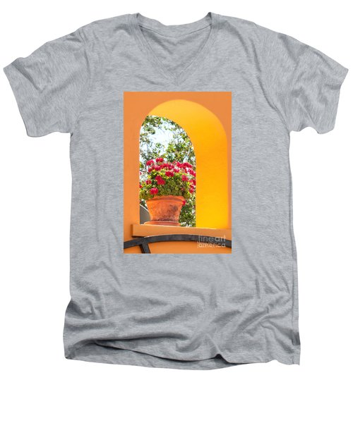 Men's V-Neck T-Shirt featuring the photograph Flowerpot In A Mexican Wall by David Perry Lawrence