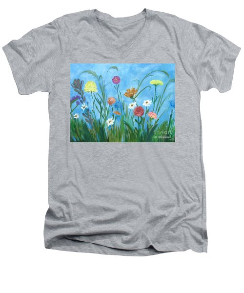 Flowers All Around Men's V-Neck T-Shirt