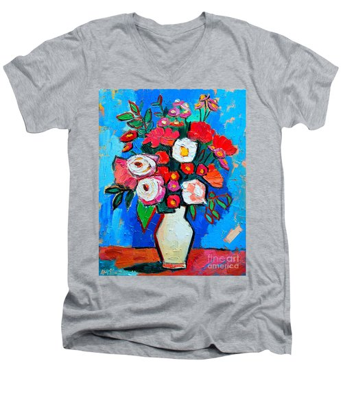Flowers And Colors Men's V-Neck T-Shirt by Ana Maria Edulescu