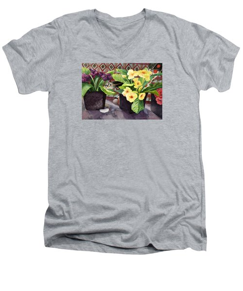 Flowers And Eagle Feathers Men's V-Neck T-Shirt by Lynda Hoffman-Snodgrass