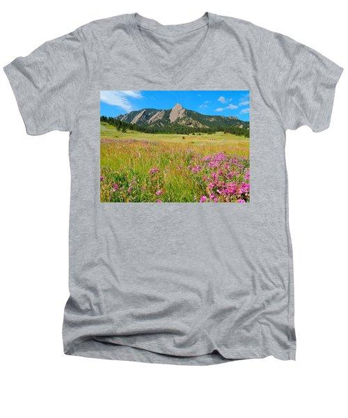 The Flatirons Colorado Men's V-Neck T-Shirt