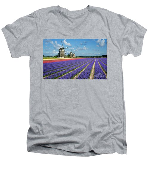Landscape In Spring With Flowers And Windmills In Holland Men's V-Neck T-Shirt