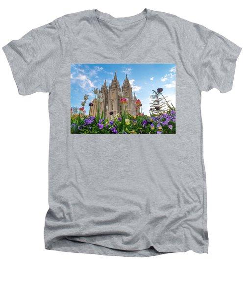 Flowers At Temple Square Men's V-Neck T-Shirt