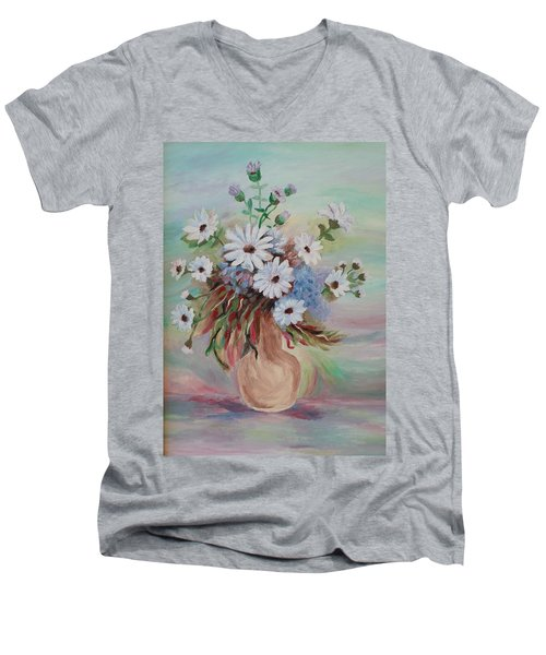Men's V-Neck T-Shirt featuring the painting Flowers For Mom by Christy Saunders Church