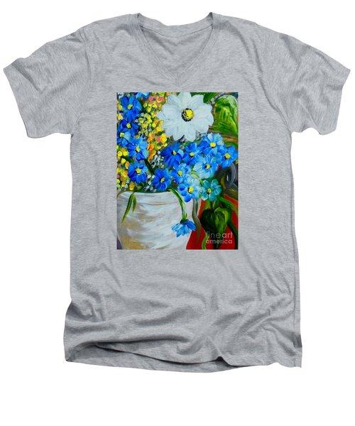 Flowers In A White Vase Men's V-Neck T-Shirt by Eloise Schneider