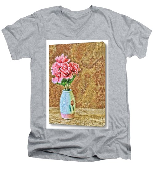 Flowers In Crayon- No Longer Available Men's V-Neck T-Shirt