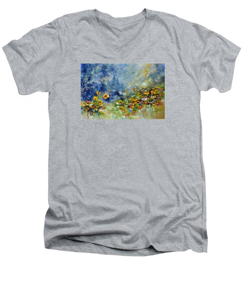 Flowers In The Fog Men's V-Neck T-Shirt by Craig T Burgwardt