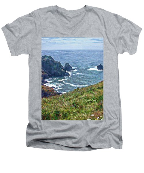 Flowers On Isle Of Guernsey Cliffs Men's V-Neck T-Shirt