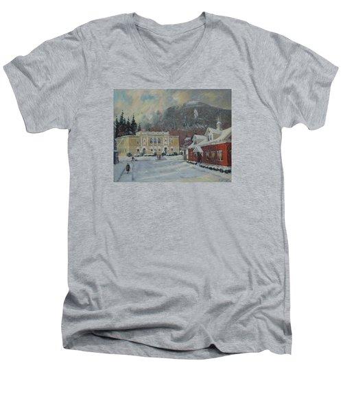 Flurries Over Mount Greylock Men's V-Neck T-Shirt by Len Stomski