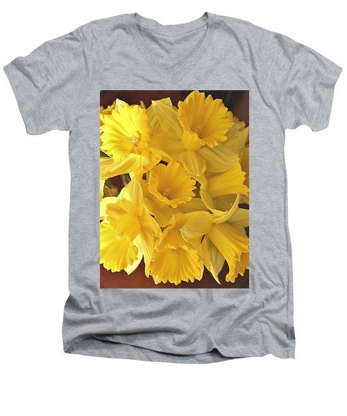 Men's V-Neck T-Shirt featuring the photograph Flurry Of Daffodils by Diane Alexander