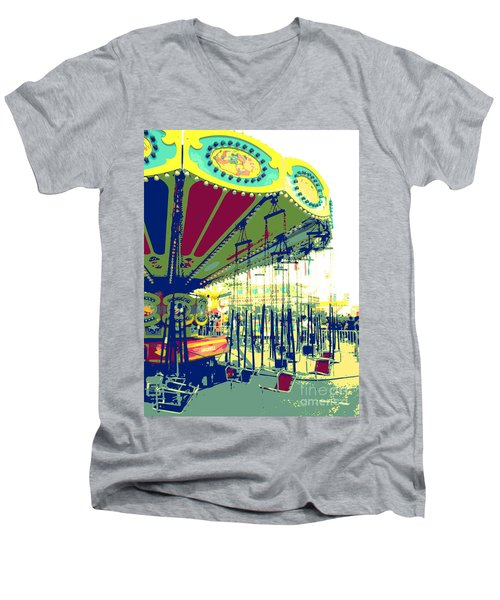 Men's V-Neck T-Shirt featuring the digital art Flying Chairs by Valerie Reeves