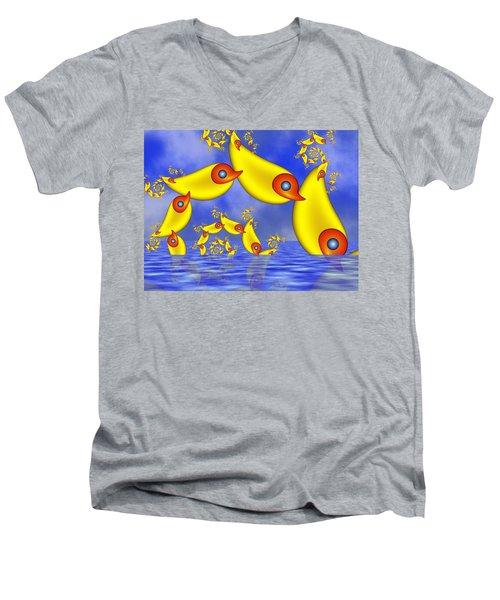 Men's V-Neck T-Shirt featuring the digital art Jumping Fantasy Animals by Gabiw Art