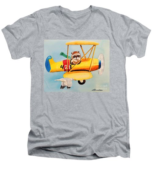 Men's V-Neck T-Shirt featuring the painting Flying Friends by LeAnne Sowa
