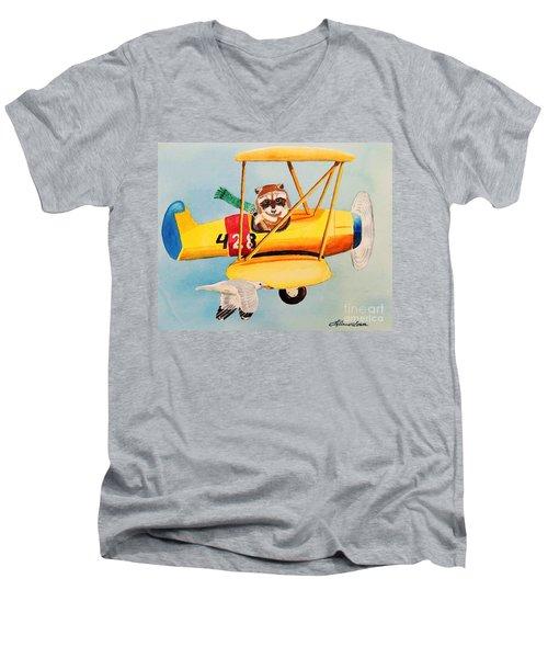 Flying Friends Men's V-Neck T-Shirt by LeAnne Sowa