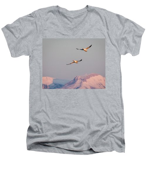 Men's V-Neck T-Shirt featuring the photograph Flying High by Jack Bell