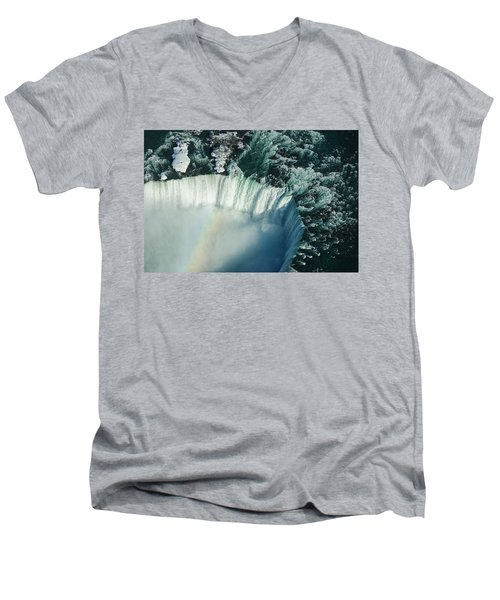Flying Over Icy Niagara Falls Men's V-Neck T-Shirt