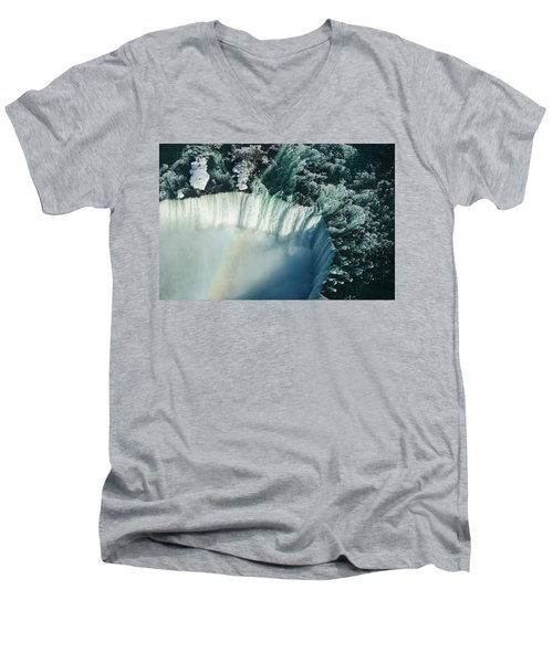 Flying Over Icy Niagara Falls Men's V-Neck T-Shirt