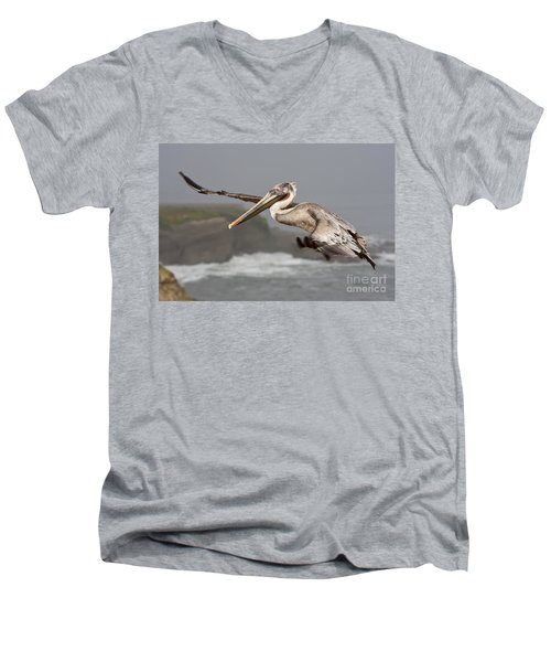 Flying Over La Jolla Men's V-Neck T-Shirt by Bryan Keil