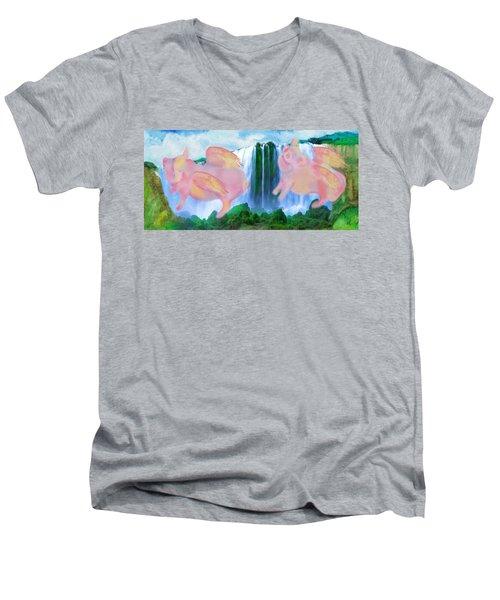 Flying Pigs Men's V-Neck T-Shirt