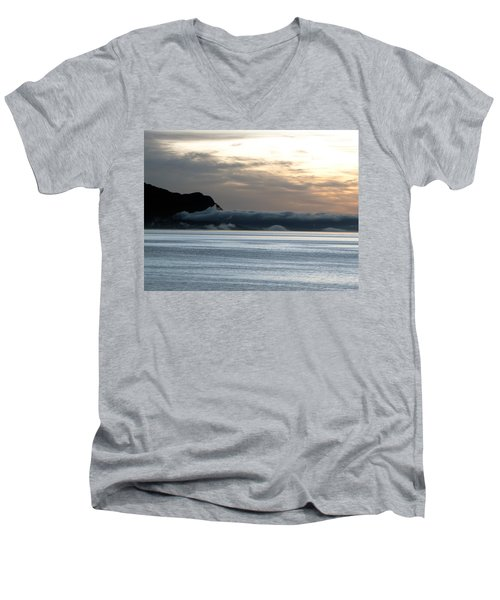 Men's V-Neck T-Shirt featuring the photograph Fog Roll Sunset by Jennifer Wheatley Wolf