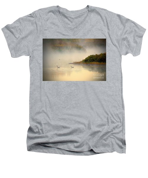 Foggy Autumn Swim Men's V-Neck T-Shirt by Elizabeth Winter