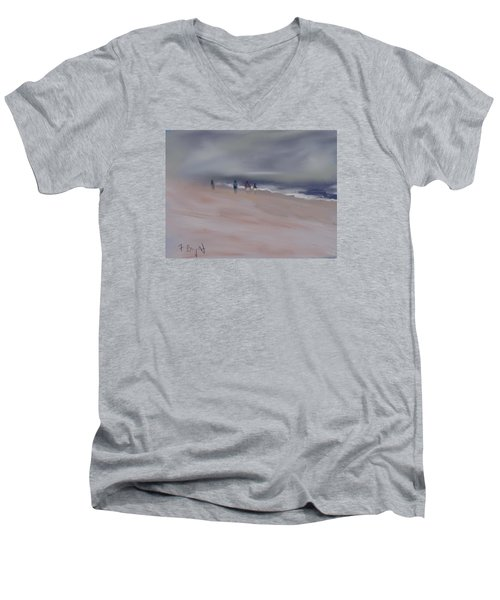 Men's V-Neck T-Shirt featuring the digital art Fog On Folly Field Beach by Frank Bright