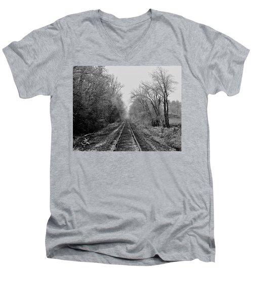 Foggy Ending In Black And White Men's V-Neck T-Shirt