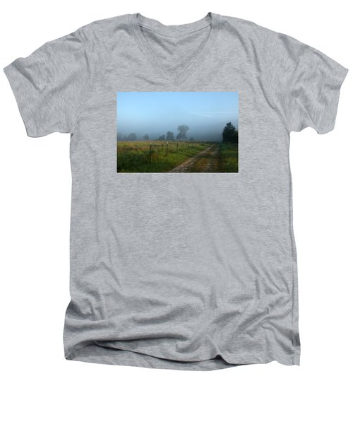 Foggy Field Men's V-Neck T-Shirt