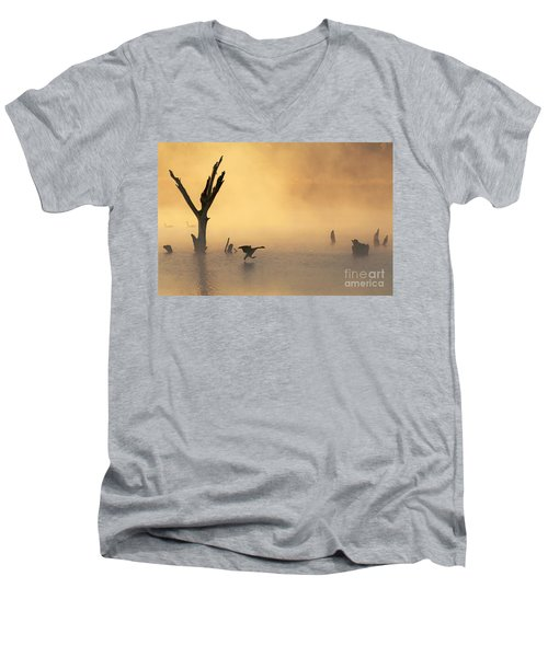 Foggy Landing Men's V-Neck T-Shirt by Elizabeth Winter