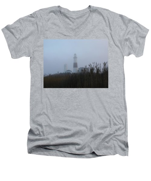 Foggy Montauk Lighthouse Men's V-Neck T-Shirt