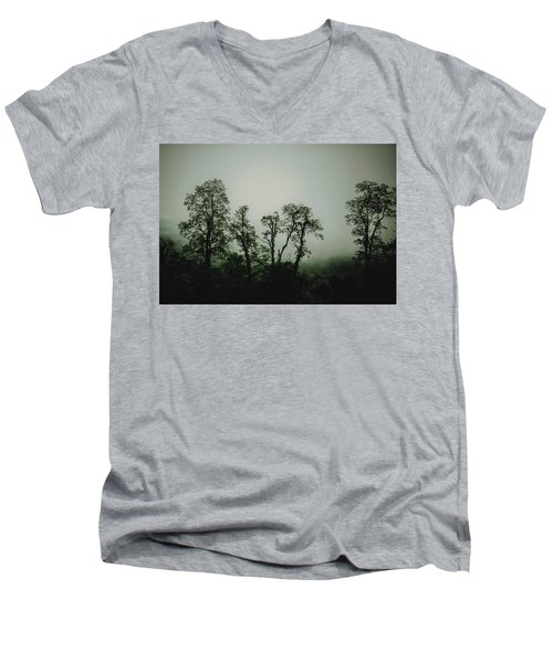 Men's V-Neck T-Shirt featuring the photograph Foggy Mountain Morning At The Meadows Of Dan by John Haldane