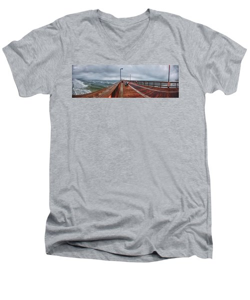 Men's V-Neck T-Shirt featuring the digital art Foggy Pier  by Michael Thomas