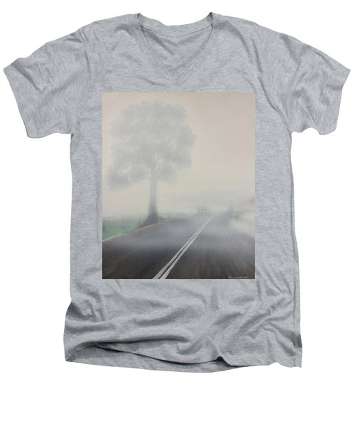 Men's V-Neck T-Shirt featuring the painting Foggy Road by Tim Mullaney