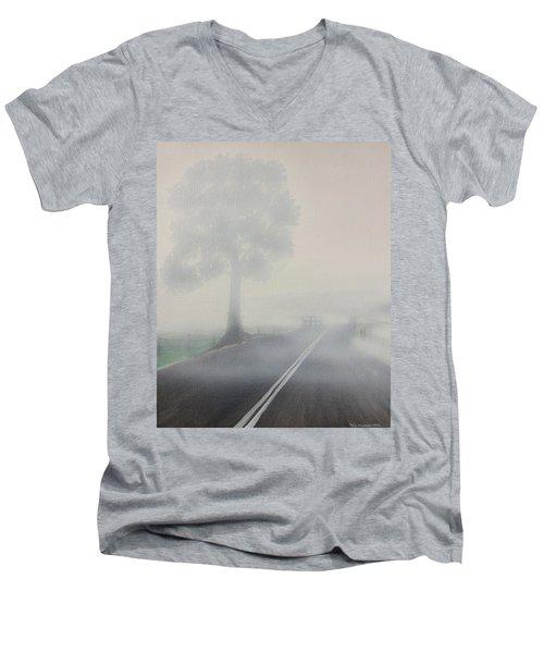 Foggy Road Men's V-Neck T-Shirt by Tim Mullaney