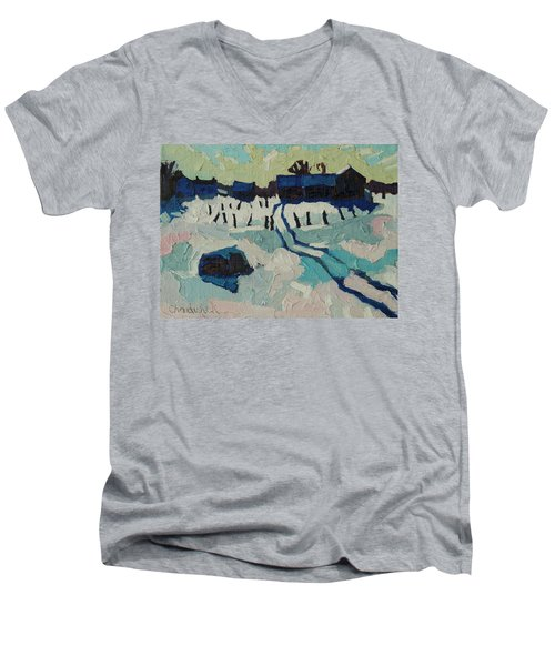 Foley Farm In Winter Men's V-Neck T-Shirt