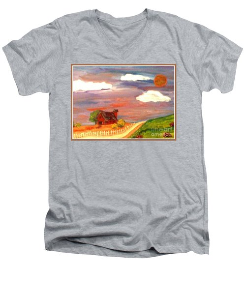 Men's V-Neck T-Shirt featuring the painting Folk Art by Bobbee Rickard