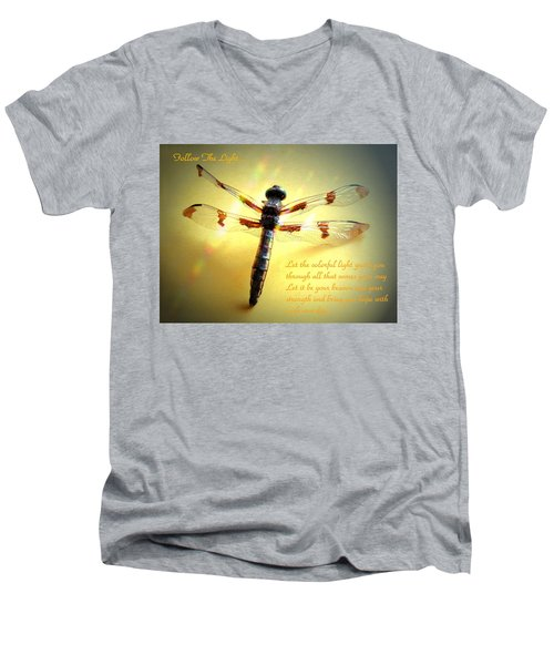 Follow The Light Men's V-Neck T-Shirt by Joyce Dickens