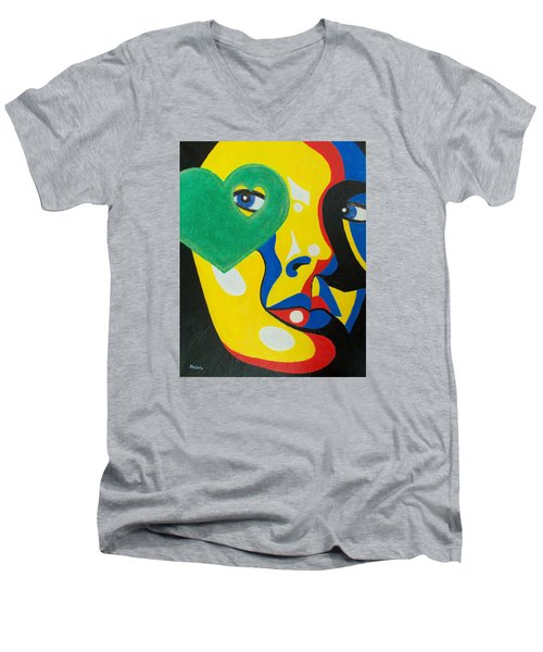 Men's V-Neck T-Shirt featuring the painting Follow Your Heart by Susan DeLain