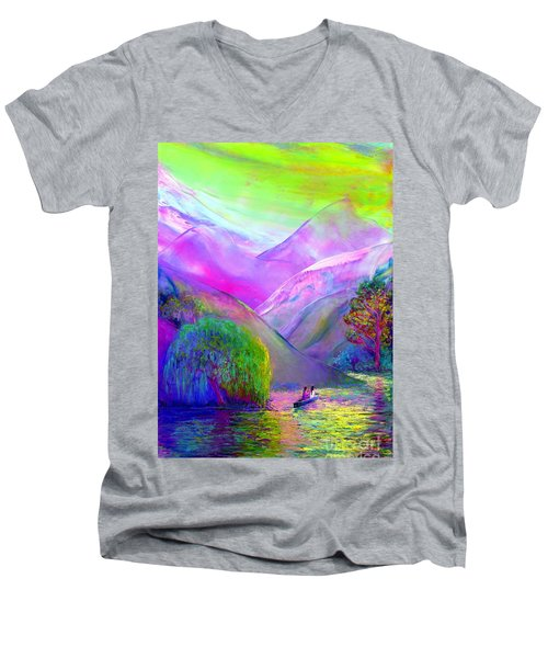 Men's V-Neck T-Shirt featuring the painting  Love Is Following The Flow Together by Jane Small