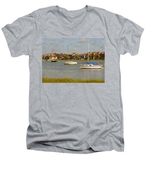 Folly Beach Boats Men's V-Neck T-Shirt