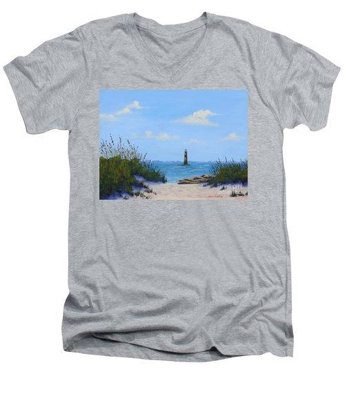 Folly Beach Lighthouse Men's V-Neck T-Shirt