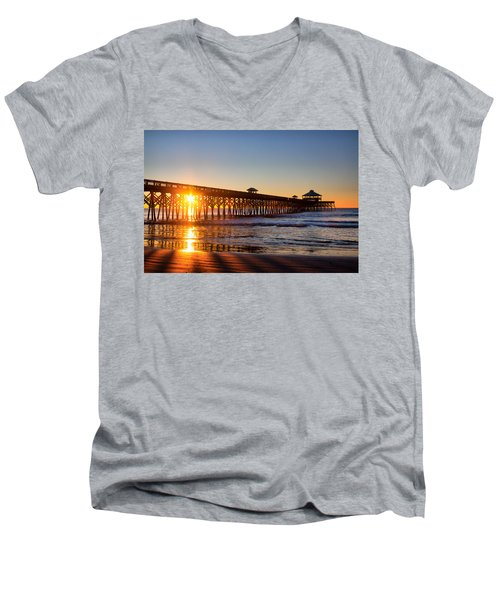 Folly Beach Pier At Sunrise Men's V-Neck T-Shirt