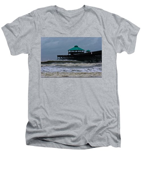 Folly Beach Pier During Sandy Men's V-Neck T-Shirt
