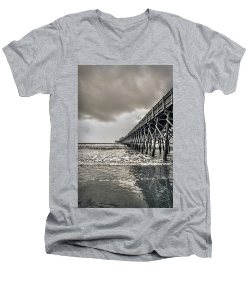 Men's V-Neck T-Shirt featuring the photograph Folly Beach Pier by Sennie Pierson
