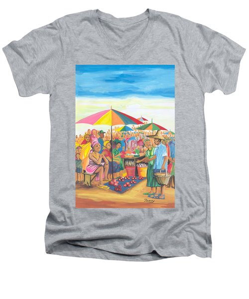 Food Market In Cameroon Men's V-Neck T-Shirt