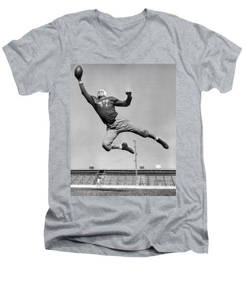 Football Player Catching Pass Men's V-Neck T-Shirt