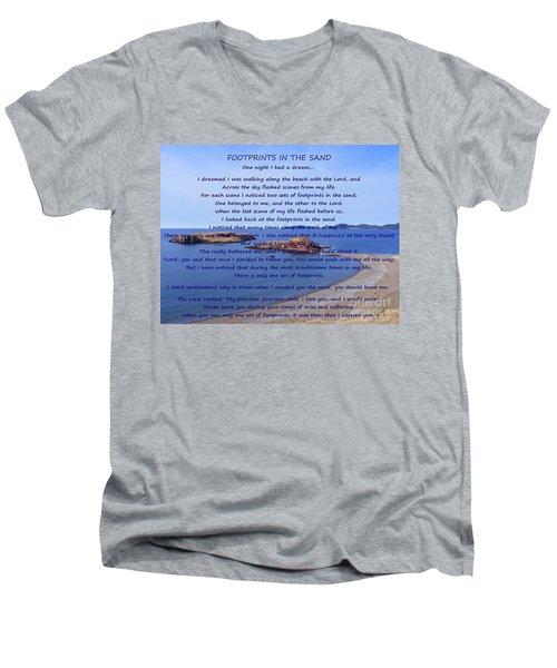 Footprints In The Sand 2 Men's V-Neck T-Shirt